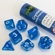 Blackfire Dice - 16mm Role Playing Dice Set - Crystal Blue 7 Dice