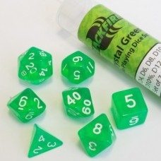 Blackfire Dice - 16mm Role Playing Dice Set - Crystal Green 7 Dice
