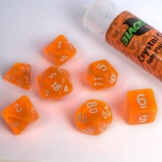 Blackfire Dice - 16mm Role Playing Dice Set - Crystal Orange 7 Dice