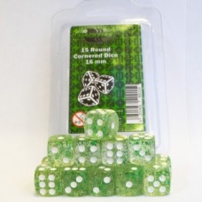 Blackfire Dice - 16mm D6 Dice Set - Glitter Green (15 Dice)