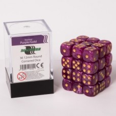Blackfire Dice Cube - 12mm D6 36 Dice Set - Marbled Purple-Gold
