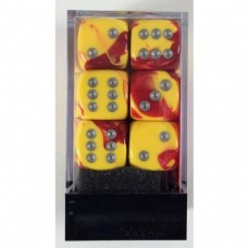 CHX 26650 - Chessex Gemini 16mm d6 Red Yellow silver - 12 dados