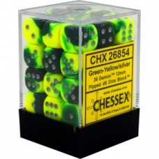 CHX 26854 -Chessex Gemini 12mm d6 Dice Blocks with pips Dice Blocks - Green Yellow silver - 36 dados