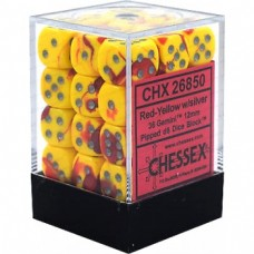 CHX 26850 - Chessex Gemini 12mm d6 Dice Blocks with pips Dice Blocks - Red Yellow silver - 36 dados