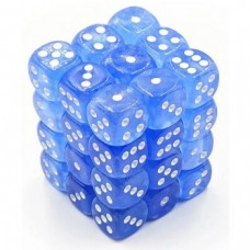 Chessex Signature 12mm d6 - 36 Dice - Borealis Sky Blue White - CHK 27826