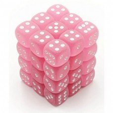 Chessex Signature 12mm d6 - 36 Dice - Frosted Polyheral Pink white - CHK 27864